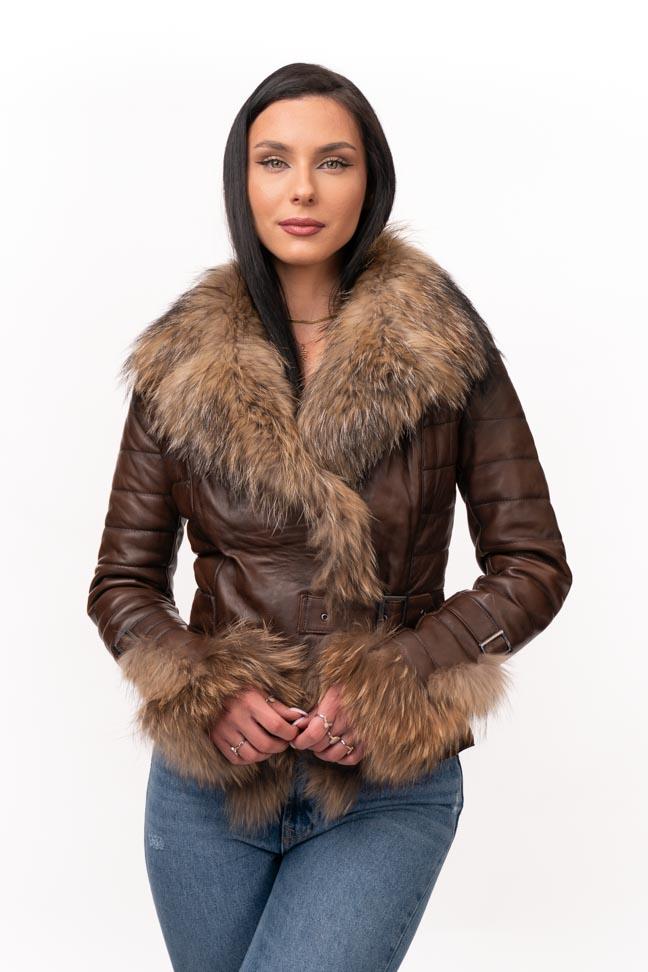 Ženska kožna jakna sa krznom - Vanessa - Tamno braon melirana, natur krzno