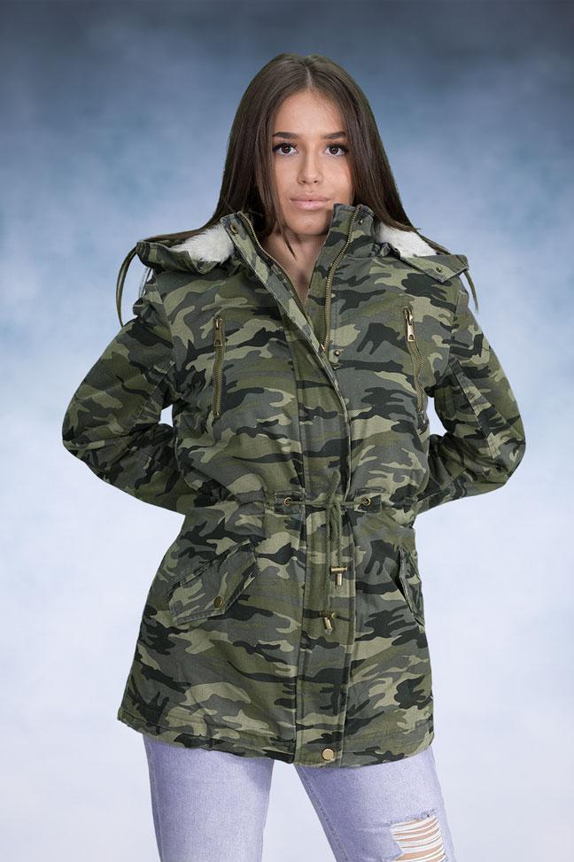 Ženska zimska jakna - Parka - YesPink 180-3 - Maskirna
