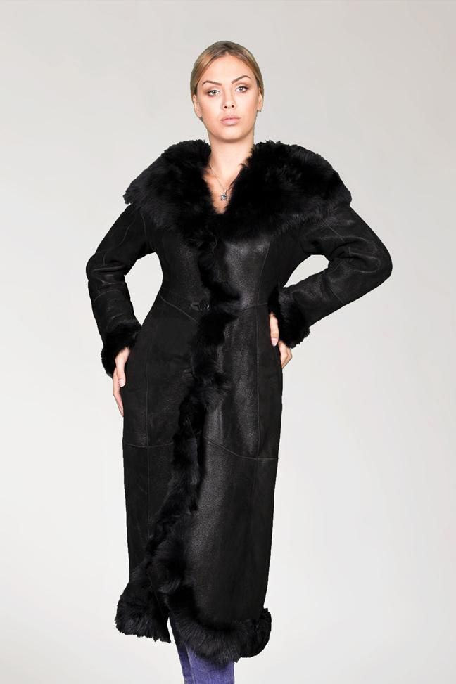 Monton Anastasia - crna, crno krzno