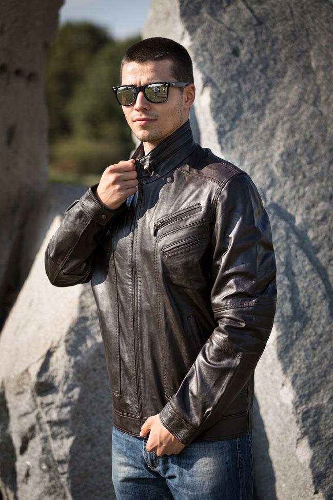 Muška kožna jakna - Morris - Tamno braon