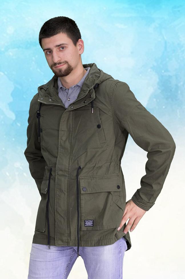 Muška prolećna jakna - Parka - 3792 - Zelena