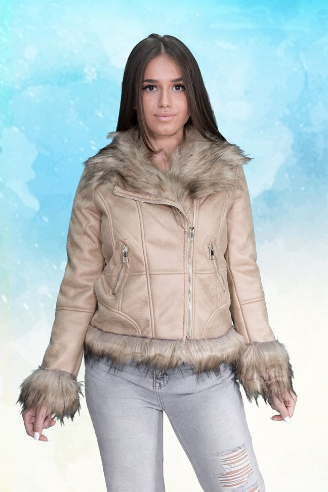 Ženska-Prolećna-Jakna-Sportska-I-Casual-T-188-Bež
