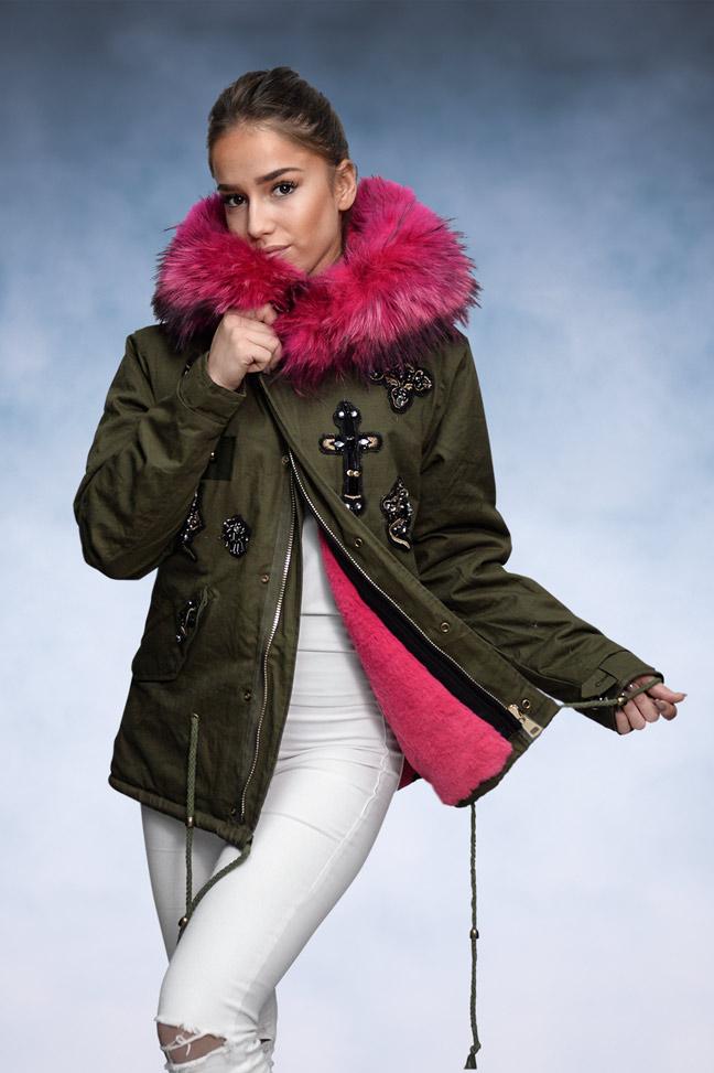 Ženska zimska jakna - Parka - 1693 - Pink Krzno 1