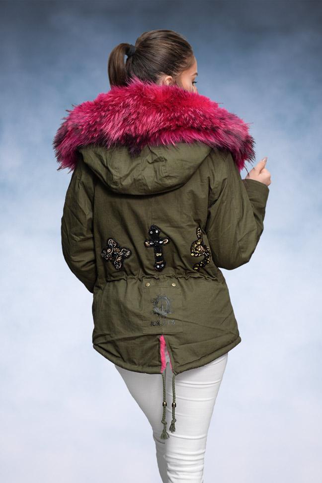 Ženska zimska jakna - Parka - 1693 - Pink Krzno 2