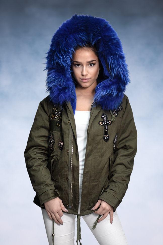Ženska zimska jakna - Parka - 1693 - Plavo Krzno 1