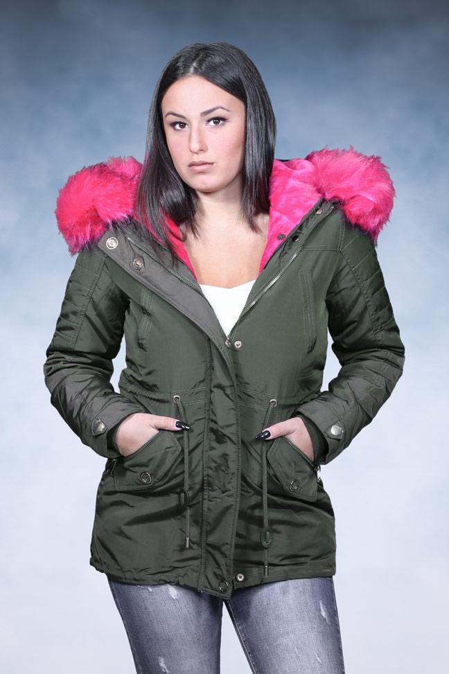 Ženska zimska jakna - Parka - 4746 (2 u 1) - Maslinasto zelena - Ciklama krzno