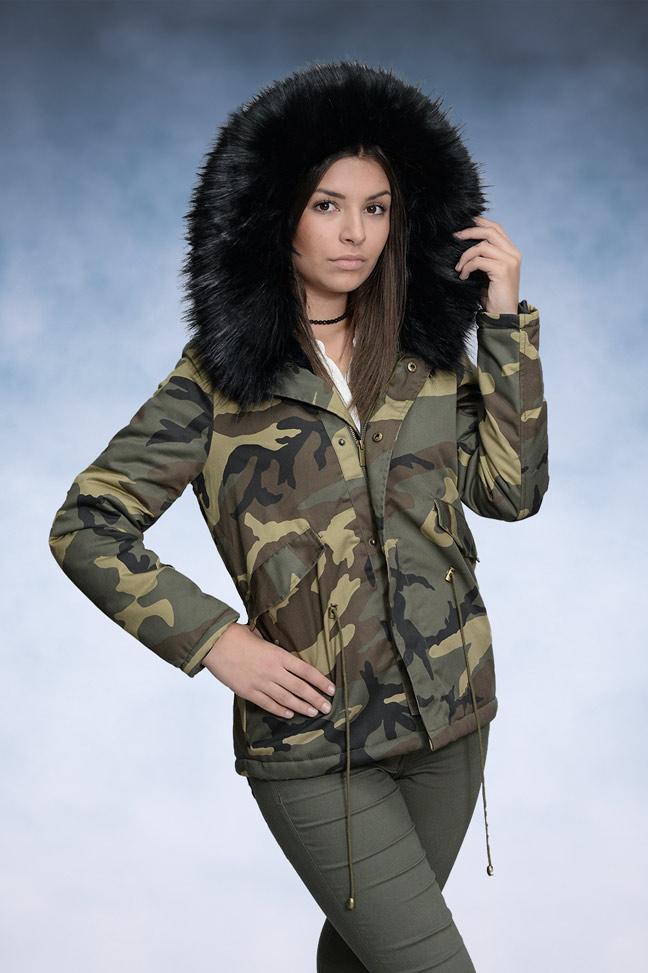 Ženska zimska jakna - Parka - KZELL 7943 - Military - Crno krzno