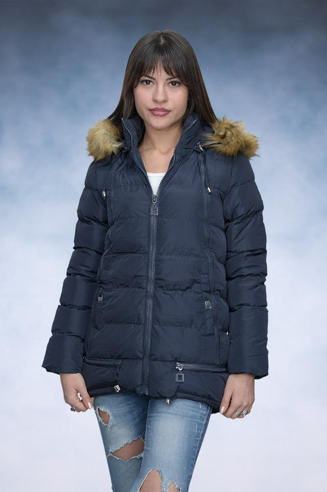 Ženska zimska jakna - Sportska i Casual - 4147 - Teget