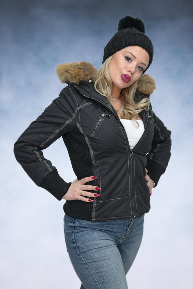 Ženska zimska jakna - Sportska i Casual - STAFF MS Navy - Crna