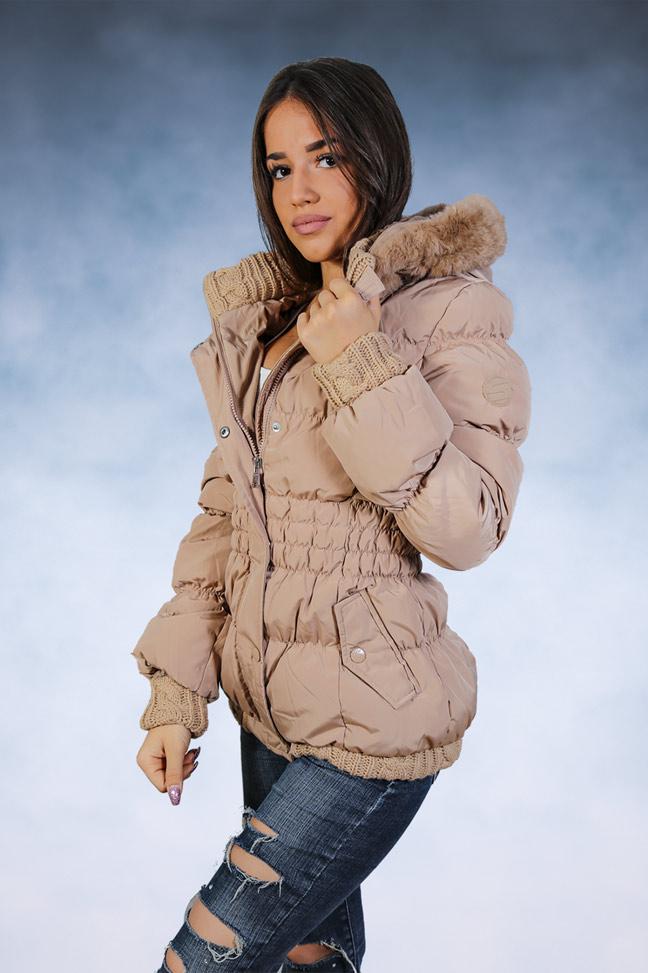 Ženska zimska jakna - Sportska i Casual - STAFF Sara - Krem