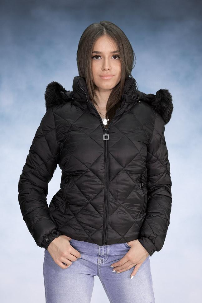 Ženska zimska jakna - Sportska i Casual - Yes Pink 1202-1 Crna