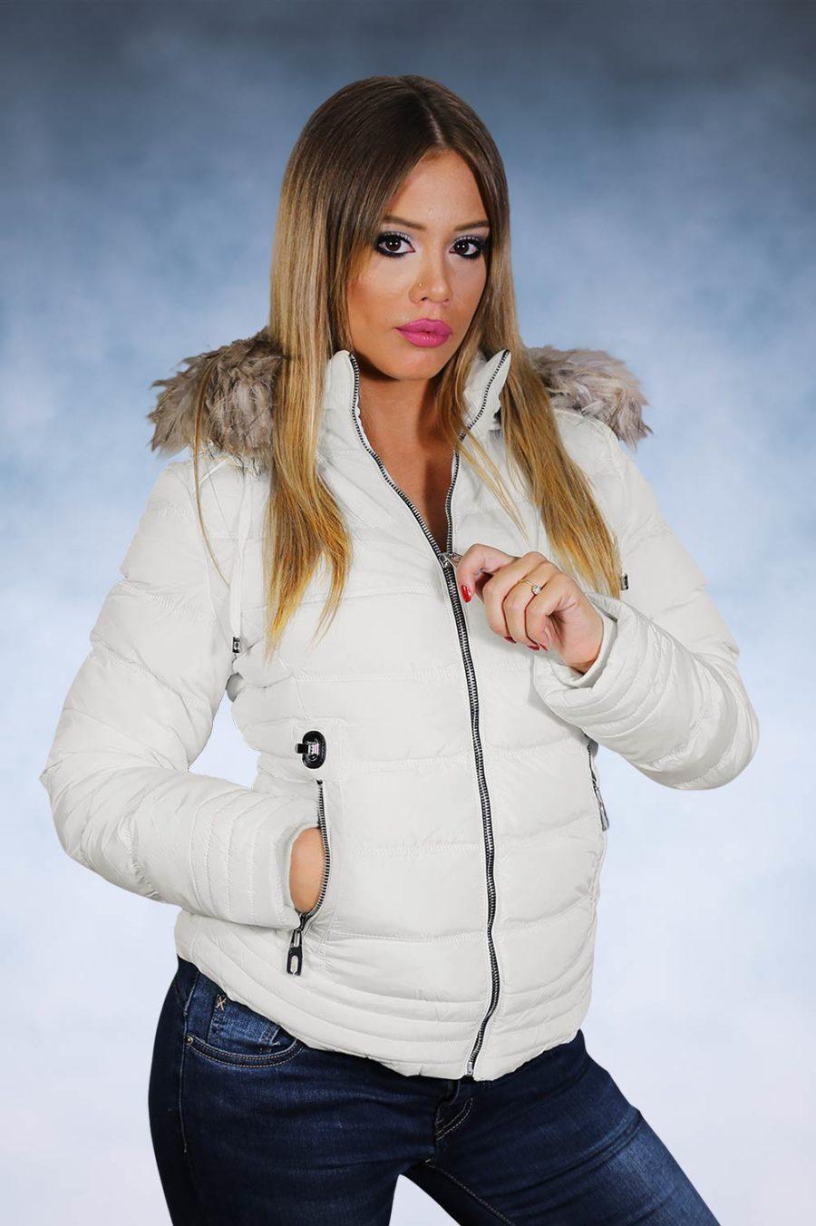 Ženska zimska jakna-Sportska i Casual-4110-Bela
