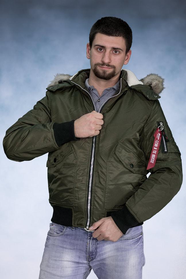 Muška zimska bomber jakna - 4270 - Maslinasto zelena