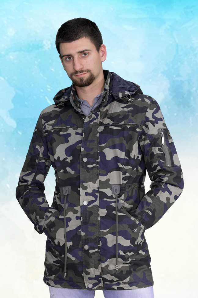 Muška prolećna jakna - Parka - ALN 72520 - Maskirna plava