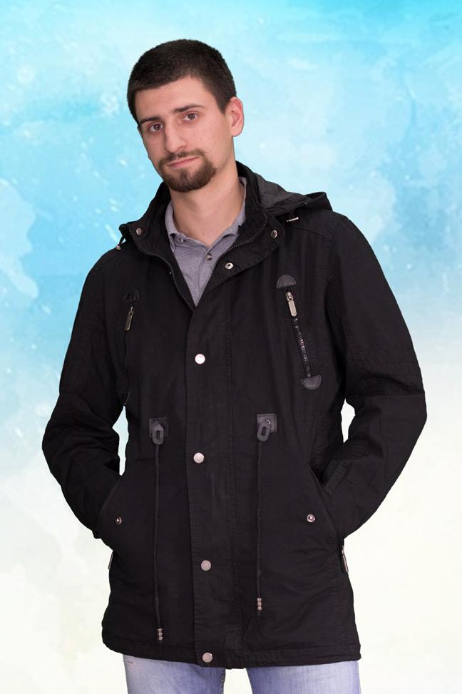 Muška prolećna jakna - Parka - ALN 72602 - Crna