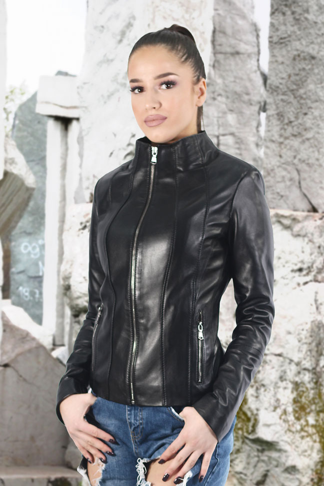 Ženska kožna jakna - Aurora - Crna