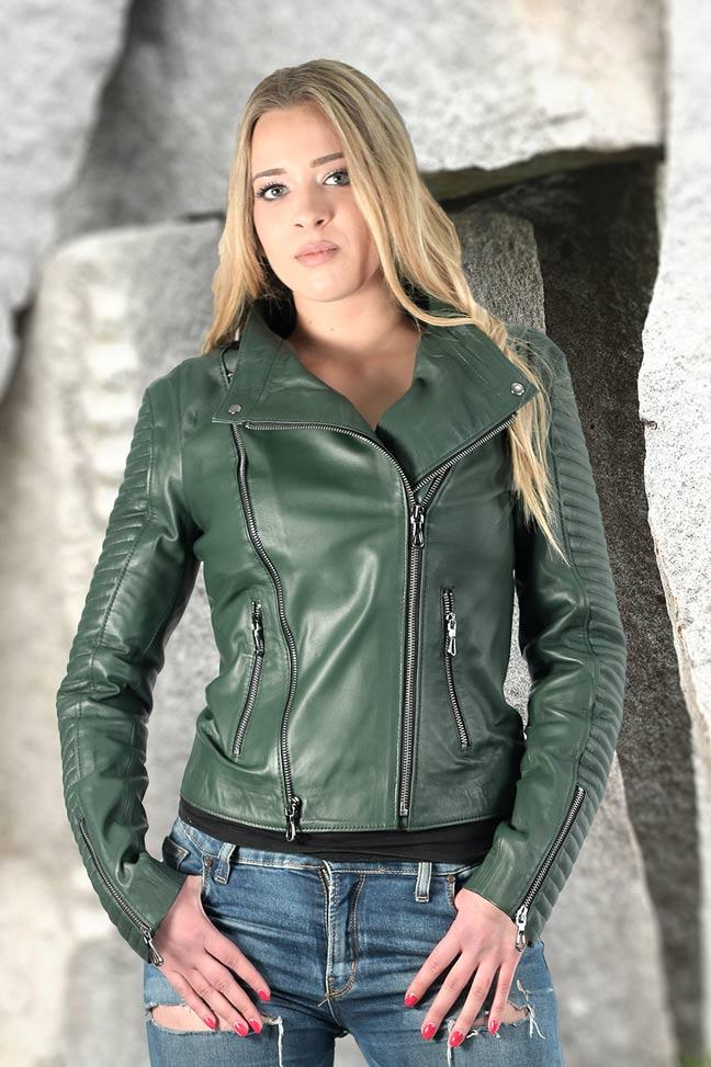 Ženska kožna jakna - Bonnie - Zelena