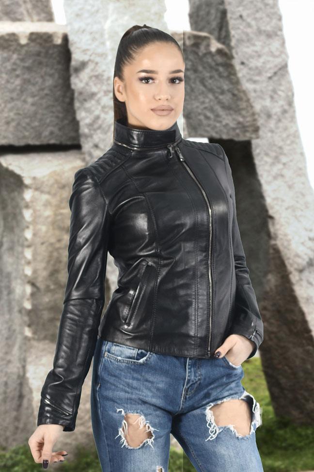 Ženska kožna jakna - Daria - Crna