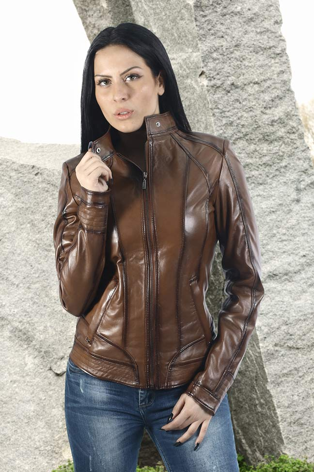 Ženska kožna jakna - Elena - Braon melirana