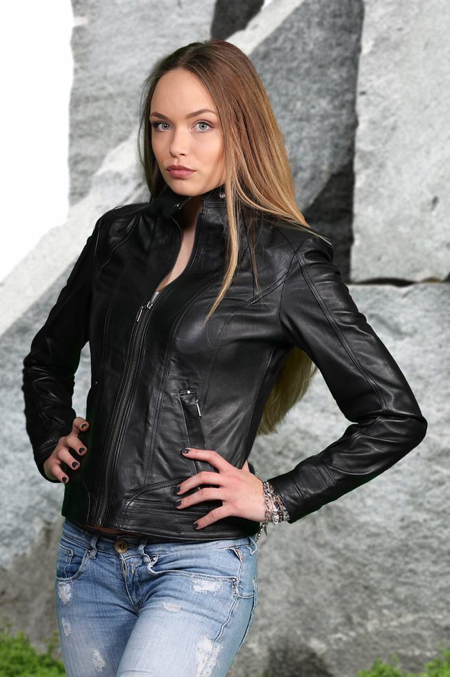 Ženska kožna jakna - Elena – Crna