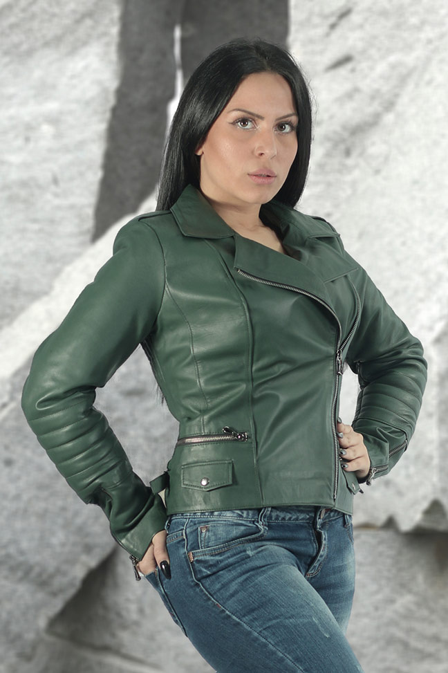 Ženska kožna jakna - Emma - Zelena