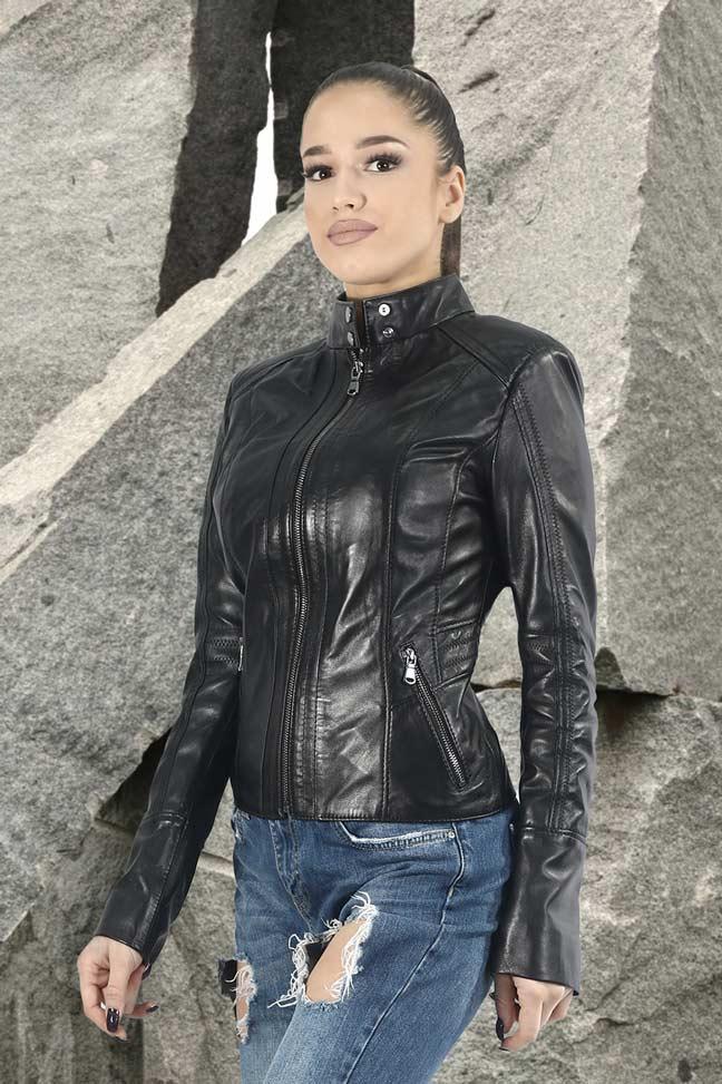 Ženska kožna jakna - Eva – Crna