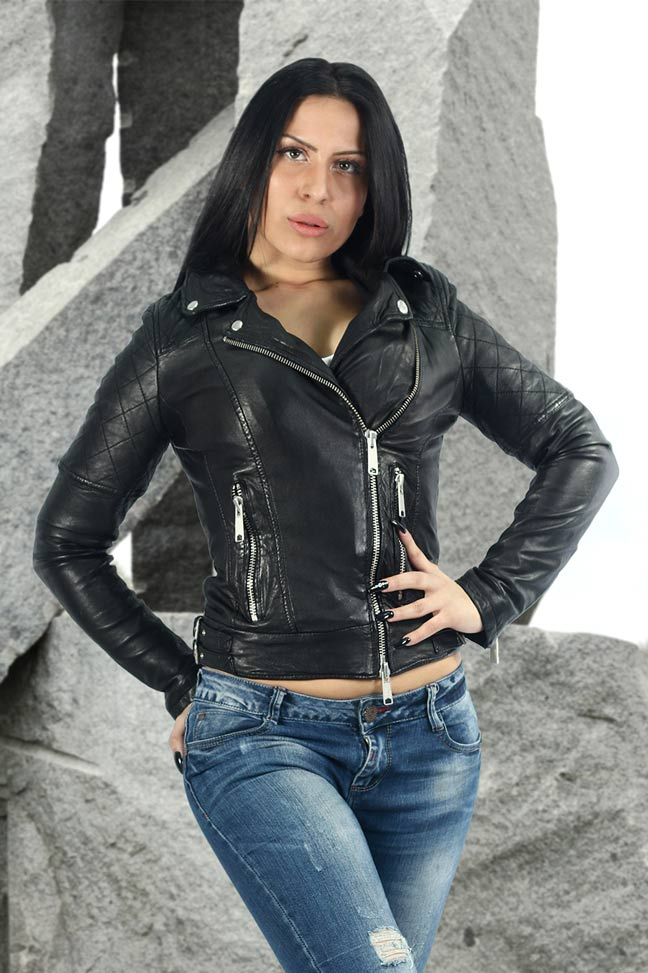 Ženska kožna jakna - Fratteli Aurora - Crna