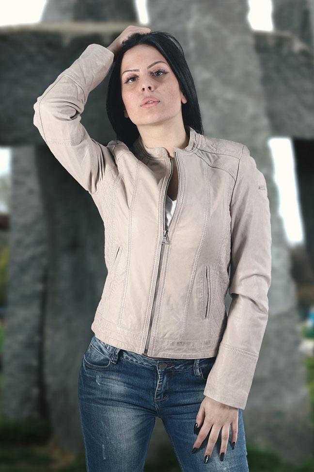 Ženska kožna jakna - Fratteli Camila - Bež