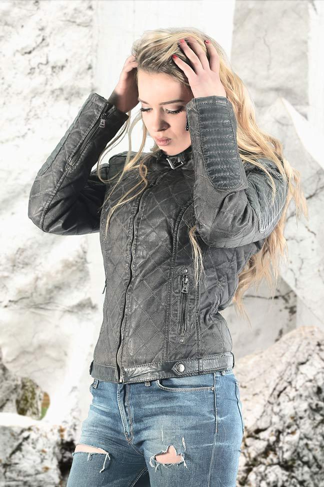 Ženska kožna jakna - Fratteli Iris - Siva