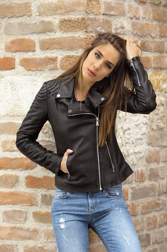 Ženska kožna jakna - Fratteli Karmen - Crna
