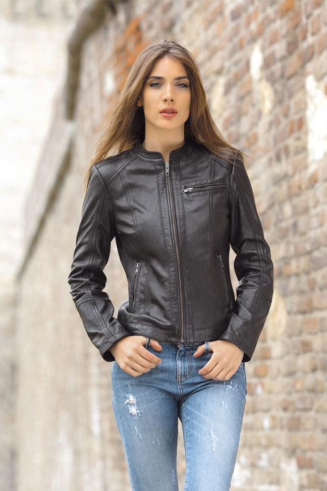 Ženska kožna jakna - Fratteli Lena - Crna