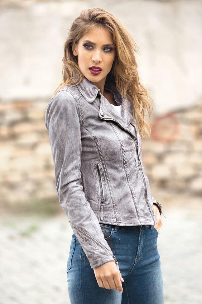 Ženska kožna jakna - Fratteli Lexi - Siva