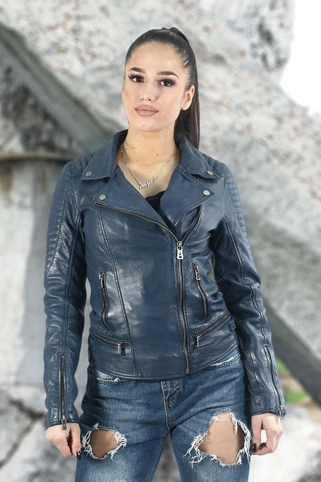 Ženska kožna jakna - Fratteli Loris - Plava