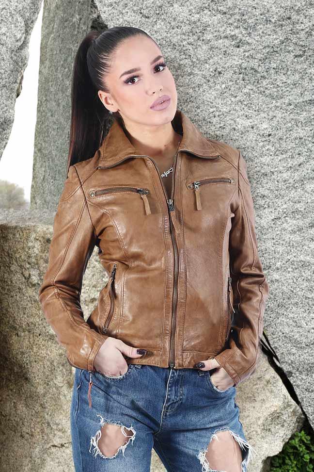 Ženska kožna jakna - Fratteli Luzie - Braon