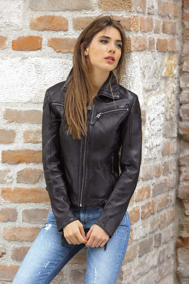Ženska kožna jakna - Fratteli Luzie - Crna