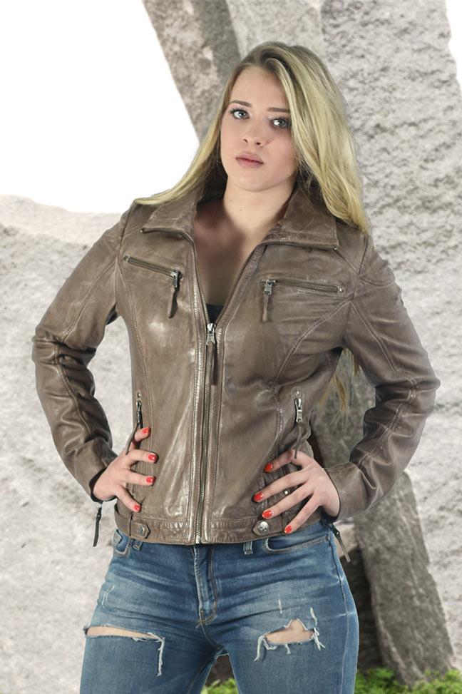 Ženska kožna jakna - Fratteli Luzie - Krem