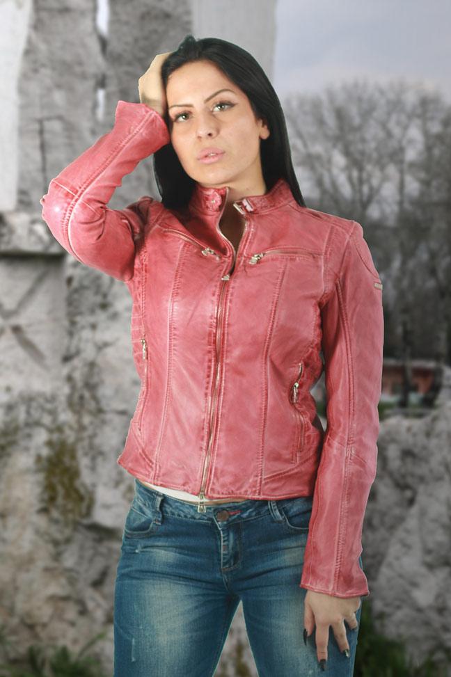 Ženska kožna jakna - Fratteli Niki - Roze