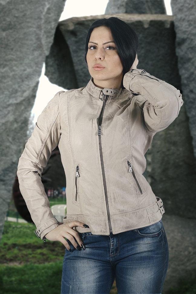 Ženska kožna jakna - Fratteli Nora - Bež