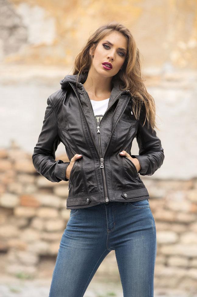 Ženska kožna jakna - Fratteli Rita - Crna