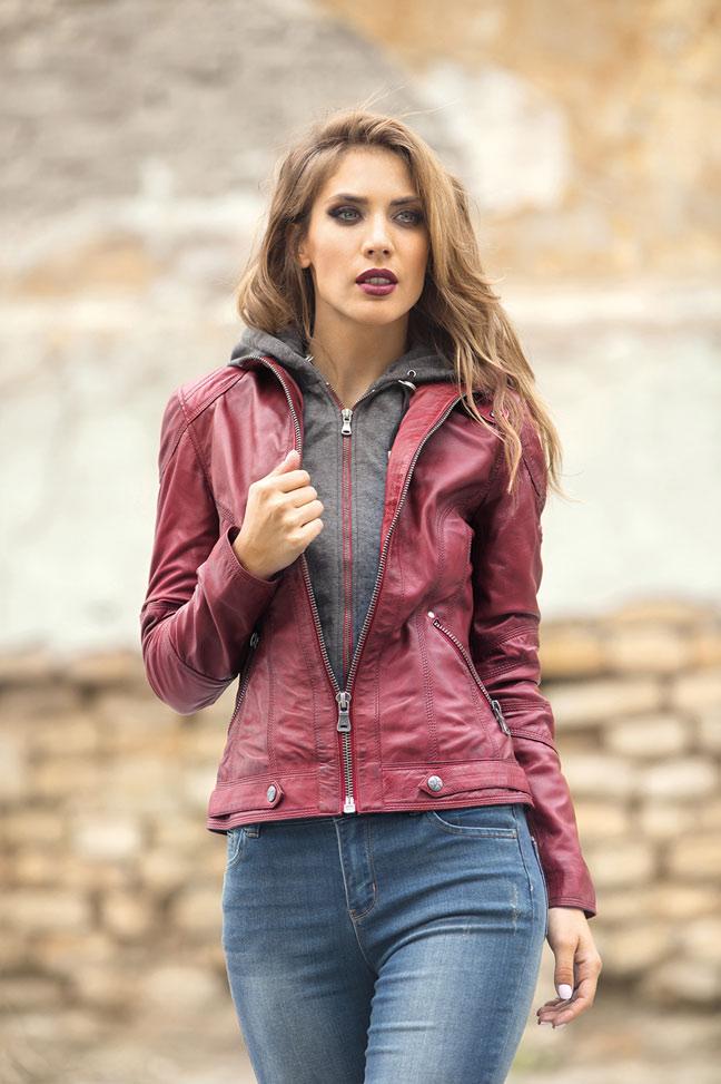 Ženska kožna jakna - Fratteli Rita - Crvena