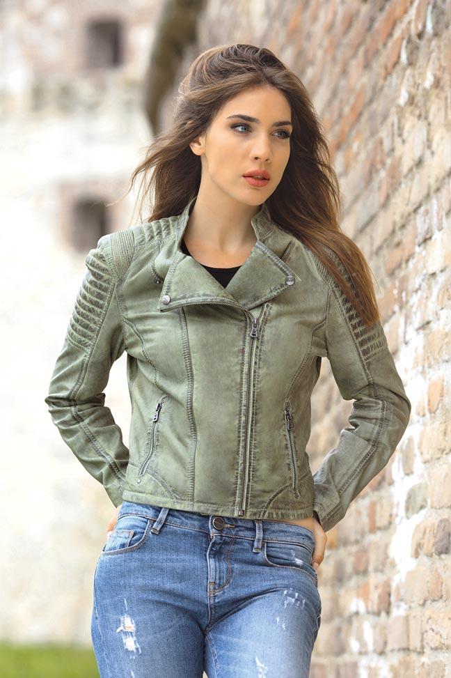 Ženska kožna jakna - Fratteli Spirit - Zelena
