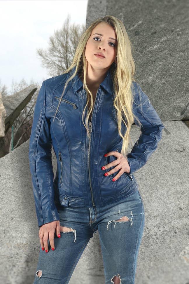 Ženska kožna jakna - Fratteli Zeb - Plava