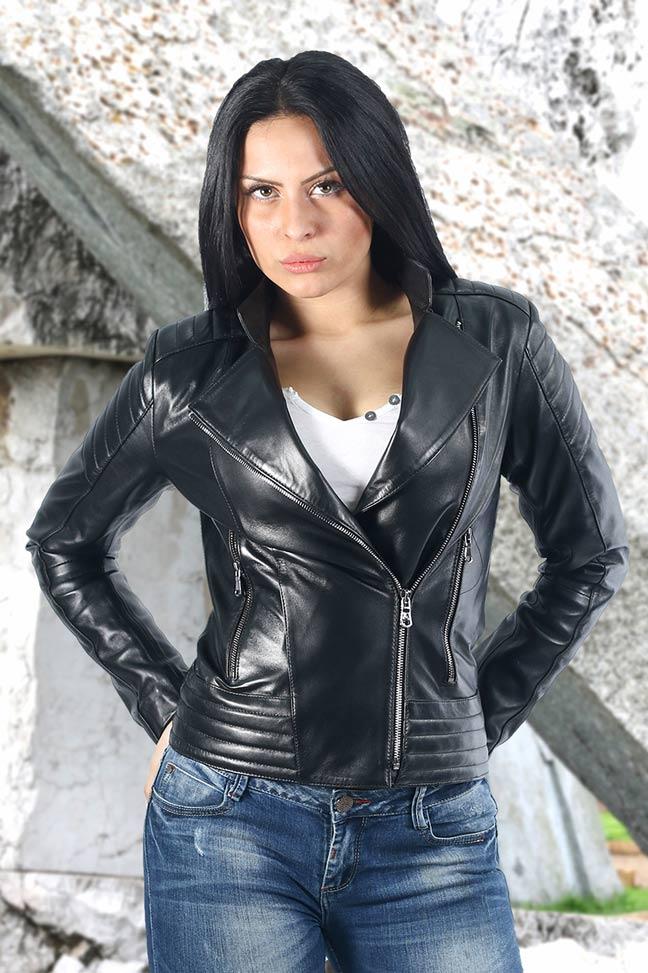 Ženska kožna jakna - Maggie - Crna