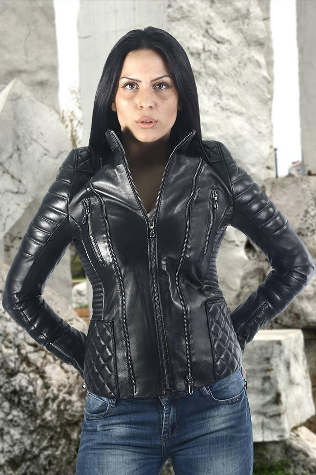 Ženska kožna jakna - Mia - Crna