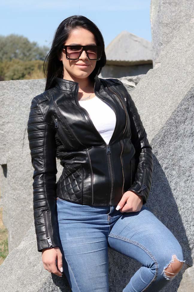 Ženska kožna jakna - Mia - Crna - 1