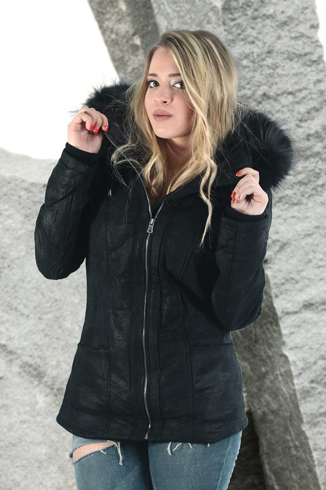 Ženska kožna jakna sa krznom - Fratteli Frida - Crna, crno krzno