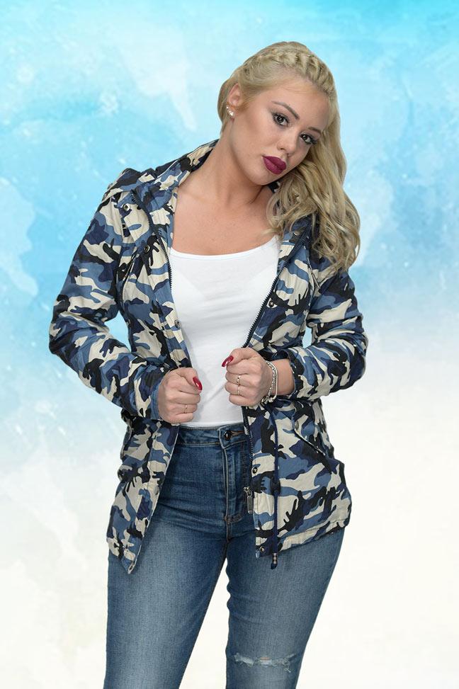 Ženska prolećna jakna - Parka - 70112 - Plava