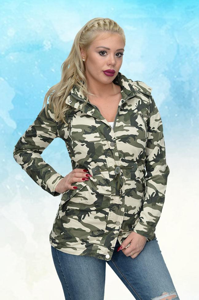 Ženska prolećna jakna - Parka - 70112 - Zelena