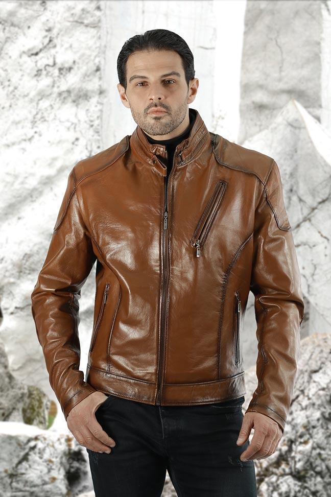 Muška kožna jakna - Alex - Braon melirana
