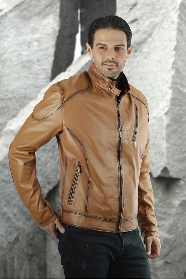 Muška kožna jakna Alex - Svetlo braon melirana